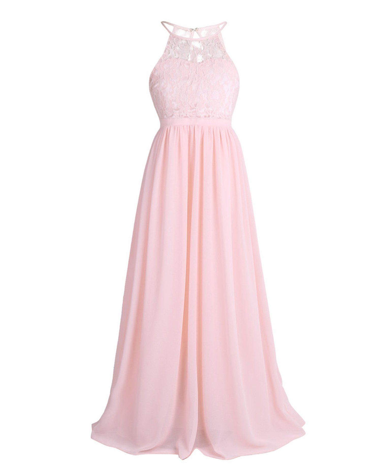 Girls Lace Chiffon Sleeveless Halter Flower Girl Dress Princess Pageant A-Line Hollow Out Formal Wedding Party Dress,Pearl Pink,Child-14