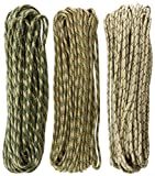 TOUGH-GRID 750lb Camo Tri-Pack Paracord / Parachute Cord - Genuine Mil Spec Type IV 750lb Paracord Used by the US Military (MIl-C-5040-H) - 100% Nylon - Made In The USA. 150Ft. - Camo Tri-Pack