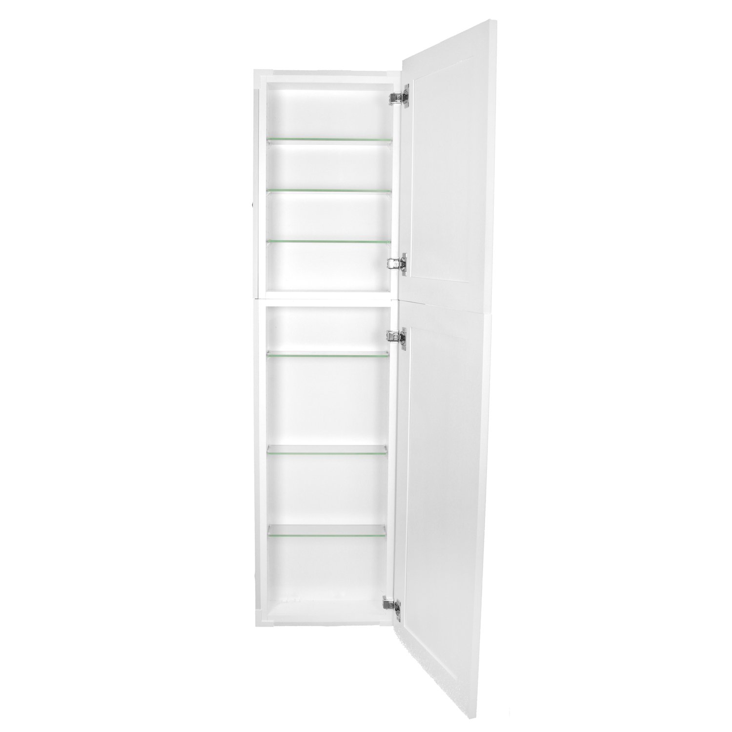 WG Wood Products Shaker Style Frameless Recessed Wall Bathroom Medicine Storage Pantry Cabinet with Multiple Finishes, 50'', White Enamel by WG Wood Products