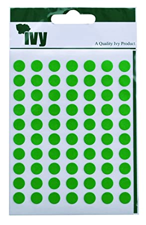 Ivy 8mm green self adhesive round dot spot sticky labels circle stickers 490 stickers