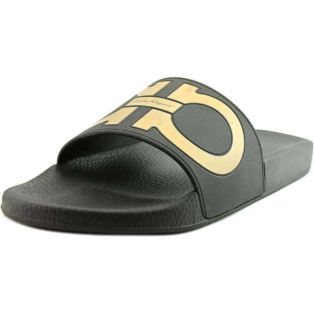 8cfb9f097c0b47 Salvatore Ferragamo Mens Groove Slide Black  Gold 13.0 D D (M ) US ...