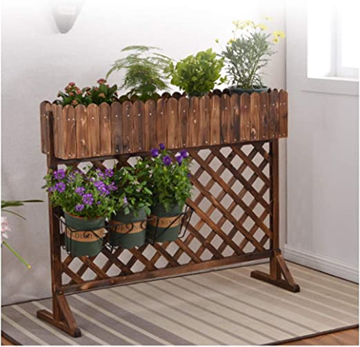 ZENGAI-vallas De JardíN Valla for Exteriores Valla De Madera Cortar Obstáculo Patio Interior Madera Anticorrosiva Decoración Red De Red Marrón (Color : Brown, Size : 120x99x25cm): Amazon.es: Jardín