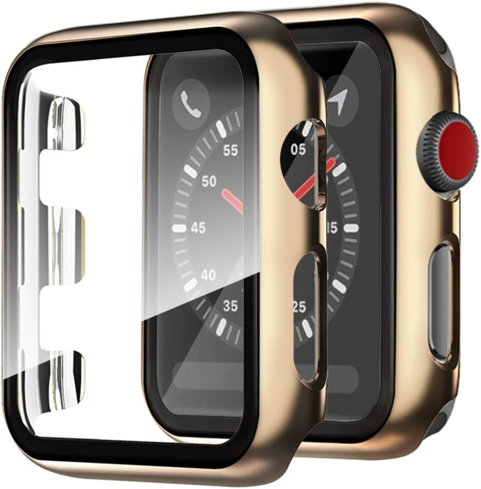 Compatible with Apple Watch SE Series 6 Series 5 Series 4 Case with Screen Protector 44mm Full Coverage Shockproof Tempered Glass Film Hard PC Cover Case for Apple Watch 44mm SE Series 6 5 4