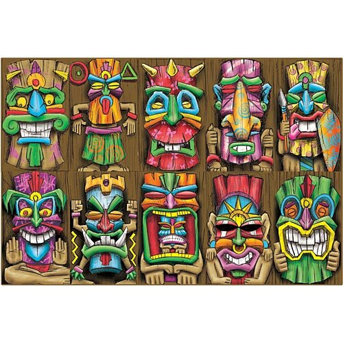 17 in. Tropical Luau Summer Tiki Island Mask Cutouts Standup Photo Booth Prop Background Backdrop Party Decoration Decor Scene Setter Cardboard Cutout -