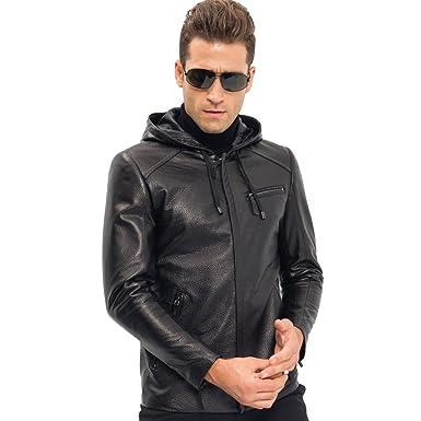 25aab561bb85 Men s Leather Jacket Short Hooded Genuine Sheepskin Motorcycle Burst True  Leather Lines Coat at Amazon Men s Clothing store