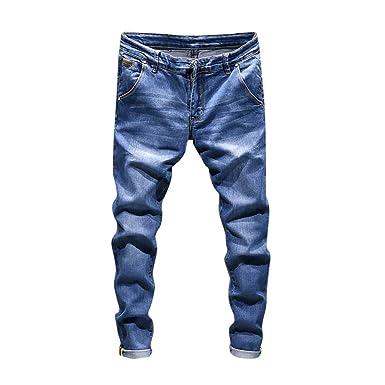 Pantalón Vaquero Hombre SUNNSEAN Elástico Casual Jeans ...