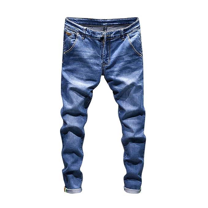 Pantalones Vaqueros Hombre Amlaiworld Vaqueros Hombre Pantalón Casual de  Trabajo de Hip Hop con Lavado Vintage de algodón de Mezclilla para Hombres   ... 023d808baae