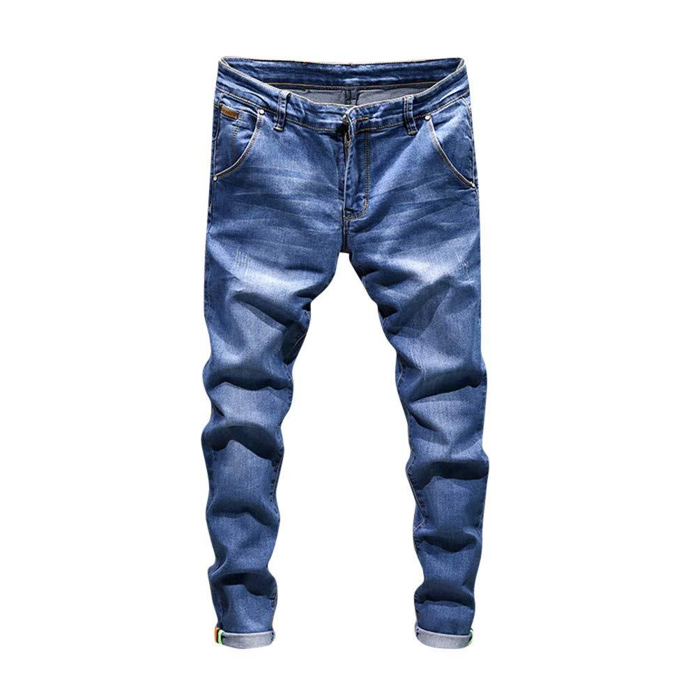OCASHI Men's Casual Wash Skinny Denim Jeans Pants Hip Hop Vintage Work Trousers (Size:28, Light Blue)