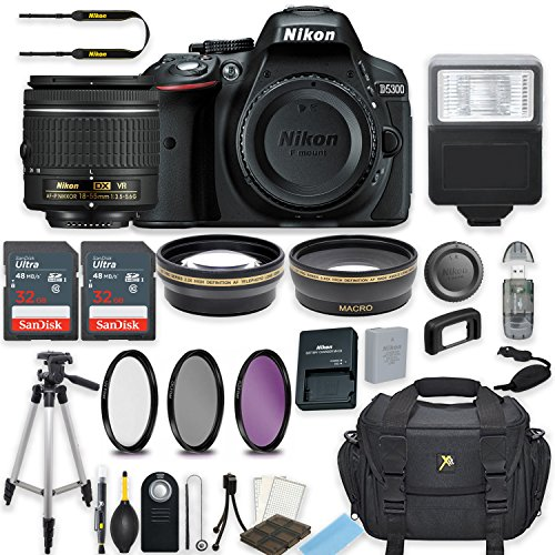 Nikon D5300 24.2 MP DSLR Camera (Black) with AF-P DX NIKKOR 18-55mm f/3.5-5.6G VR Lens Bundle includes 64GB Memory + Filters + Deluxe Bag + Professional Accessories (25 Items)