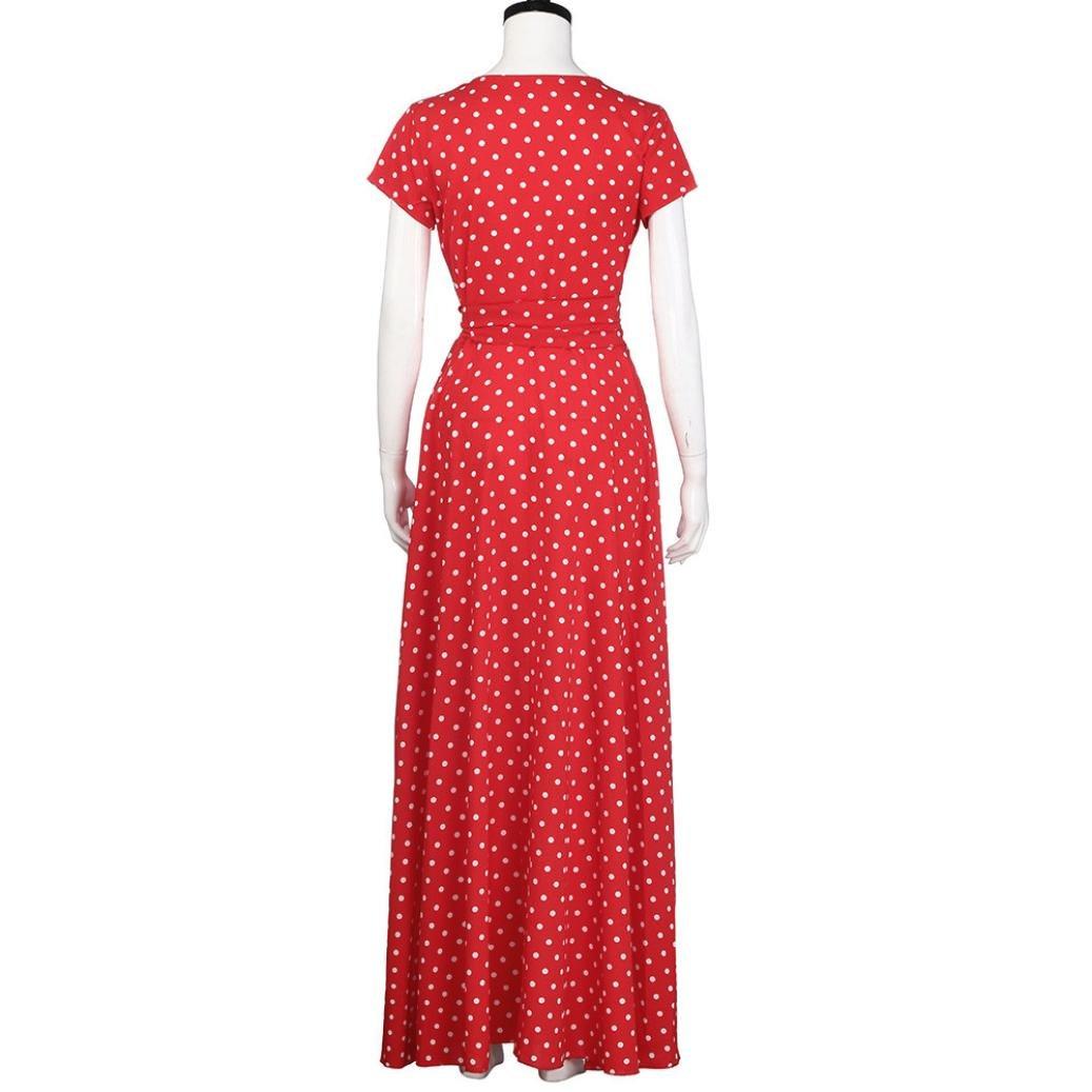 Slit Dress,Women Dots Pattern V Neck Chiffon Daydresses Summer Beach Long Dress Maxi Sundress