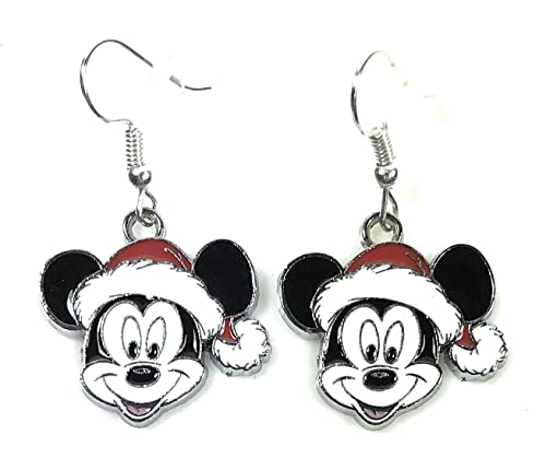 b68f6da321c78 Disney Christmas Mickey Mouse Head with Santa Hat Cartoon Character Metal  Drop Dangle Hook Earrings W/Gift Box