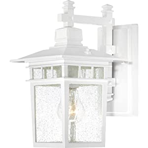 Nuvo Lighting 60/4951 Cove Neck One Light Wall Lantern/Arm Down 100 Watt A19 Max. Clear Seeded Glass White Outdoor Fixture