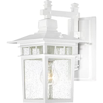 Nuvo Lighting 60 4951 Cove Neck One Light Wall Lantern Arm Down 100 Watt A19 Max Clear Seeded Glass White Outdoor Fixture