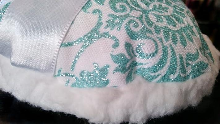 Aqua Sparkle Baroque and Silky Fleece Powder Puff for Dusting Powder Medium 4 Inch