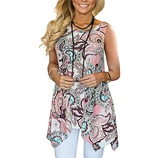 f275c82b1d Sunmoot Clearance Sale Casual Sleeveless Tunic Tank Tops for Womens Summer  Print Irregular Hem Loose Long