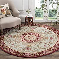 Safavieh Easy to Care Collection EZC472A Hand-Hooked Ivory and Burgundy Round Area Rug (6 Diameter)