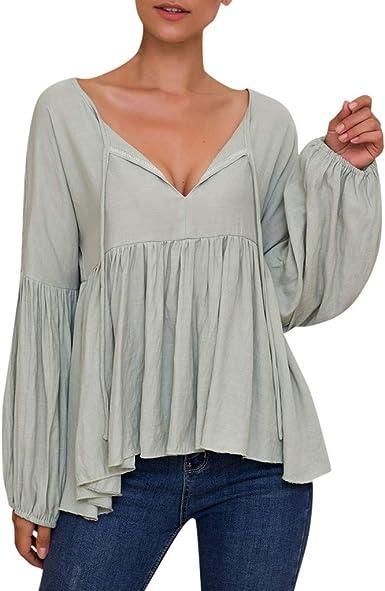 Camiseta Plisada túnica Mujer Elegante Blusa con Cuello en V y Manga Larga para Mujer Camisa Casual Lisa Verde XL: Amazon.es: Ropa y accesorios