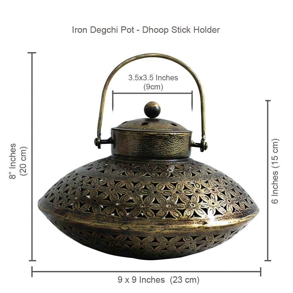 Giant Roots Handcrafted Iron Degchi Handi Pot - A Dhoop Incense Holder with Brass Bell Art Iron Hanger- 9''x9''x 6'' by Giant Roots (Image #5)