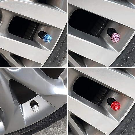 4 Pezzi Volwco con Strass di Cristallo Realizzati a Mano universali Tappi per valvole Pneumatici Accessori per Auto per Donne