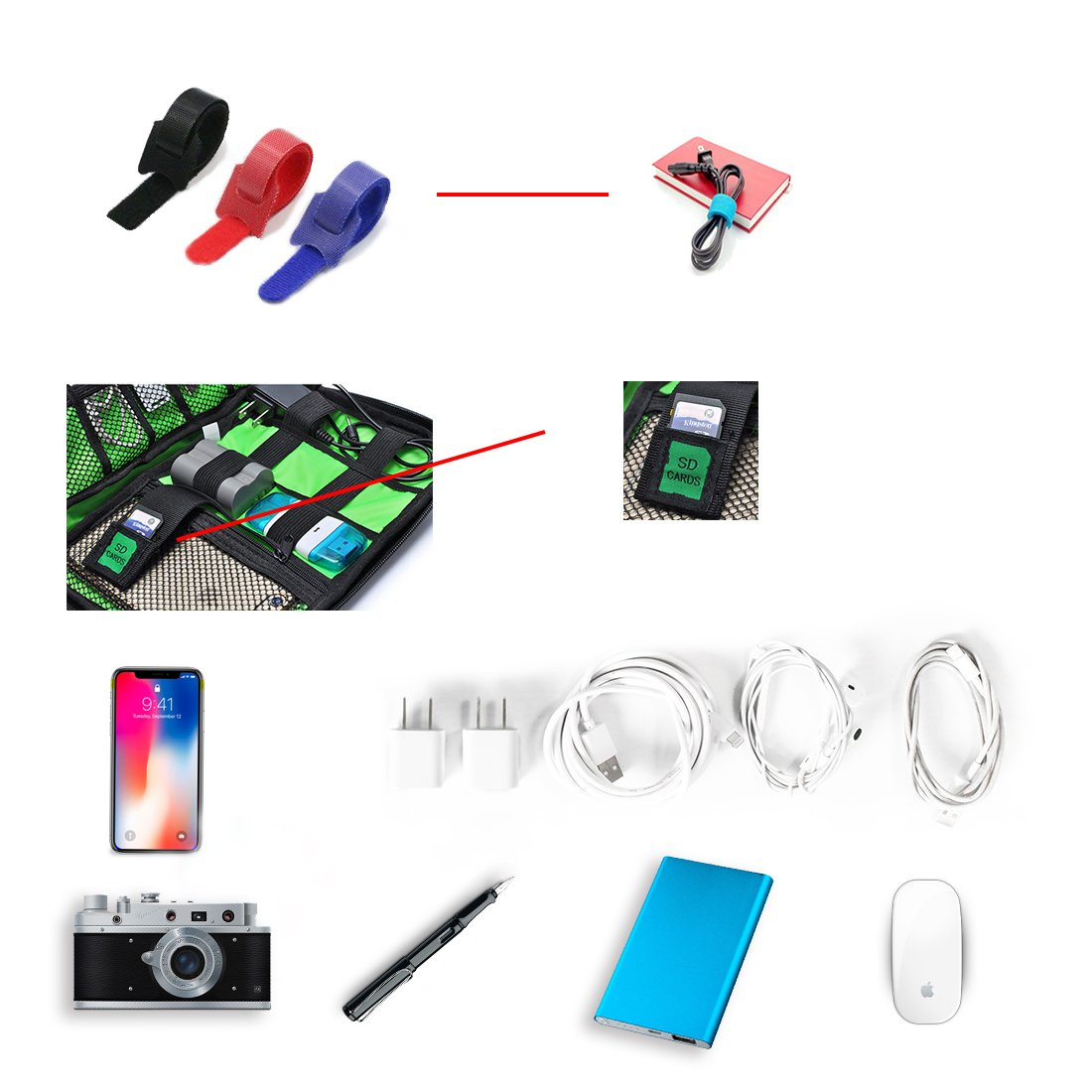 Travel Universal Cable Organizer Electronics Accessories Cases for Various USB, Phone, Charger and Cable, Black by zhenrong (Image #3)