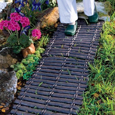 Set of 2 Durable Rubber Outdoor Pathway Garden Trail Walkway Mat