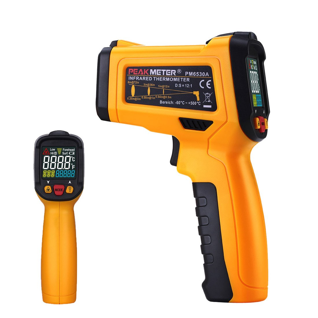 Digital Infrared thermometer Peakmeter PM6530A Laser IR Temperature Gun LCD for Kitchen Cooking Automotive with Temperature Bridge Alarm Function Display -58°F~572°F(-50°C~300°C) by uvcetech (Image #1)