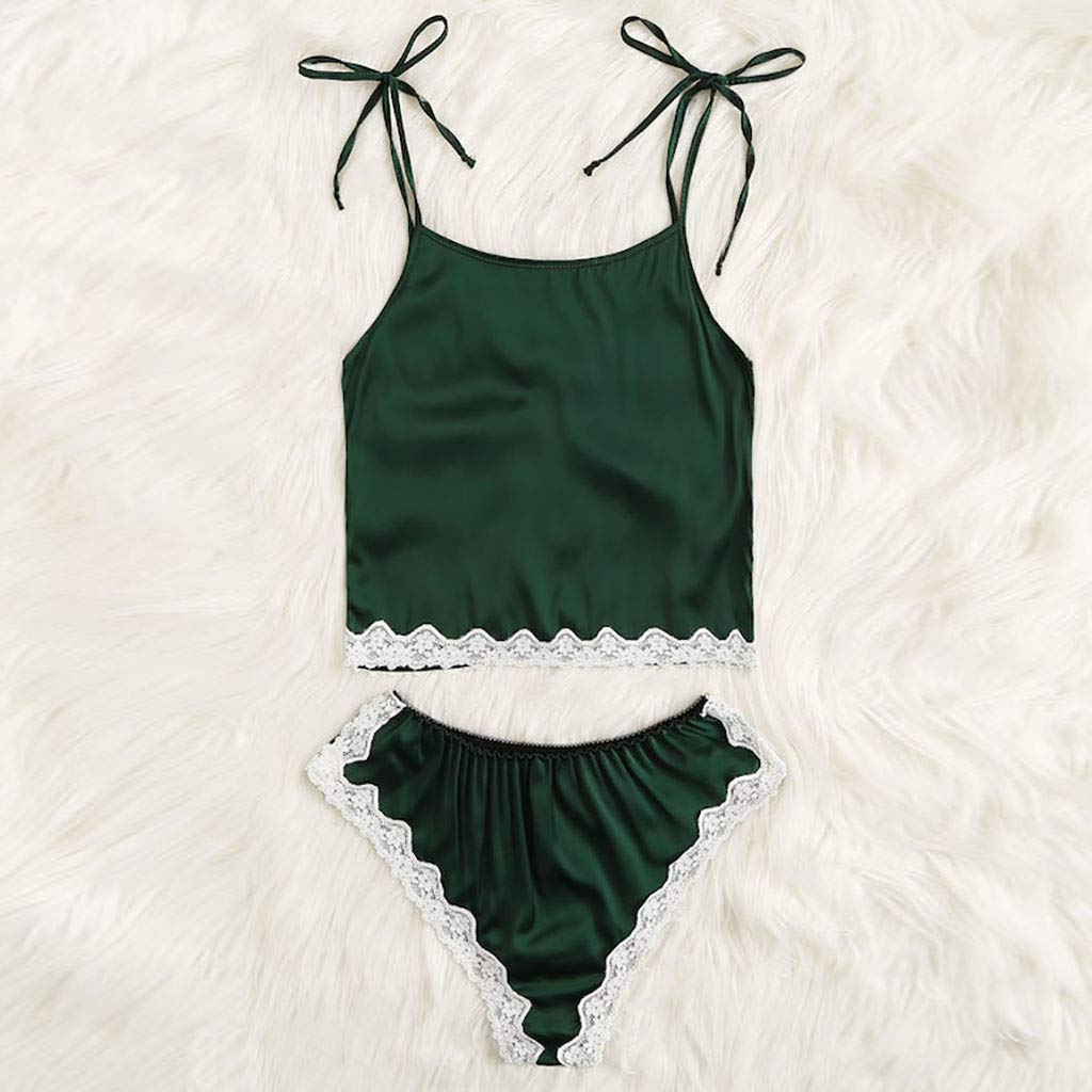 Women's Lace Lingerie Corset Racy Muslin Underwire Hollowed Sleepwear Set S-XL (Green, M) by Aurorax Underwear (Image #4)