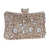 Tanpell Womens Crystal Evening Clutch Bag Wedding Purse Bridal Prom Handbag Party Bag Champagne