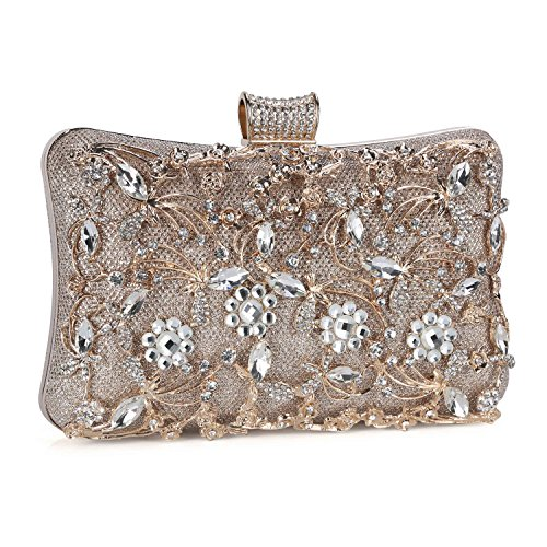 (Tanpell Womens Crystal Evening Clutch Bag Wedding Purse Bridal Prom Handbag Party Bag Champagne)