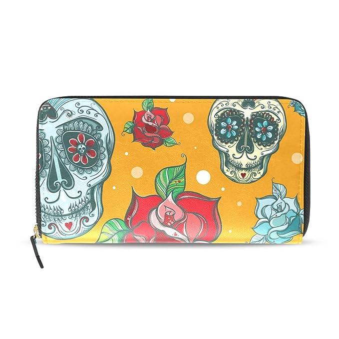Fashion Women Lady Skull Wallet Phone Case Clutch Purse Long Handbag Card Holder