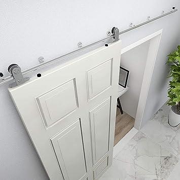 10FT/304cm Herraje Puerta Corredera Acero Inoxidable, Herraje para puerta Sistema Carril de acero inoxidable madera puerta corredera Puerta Corredera: Amazon.es: Bricolaje y herramientas