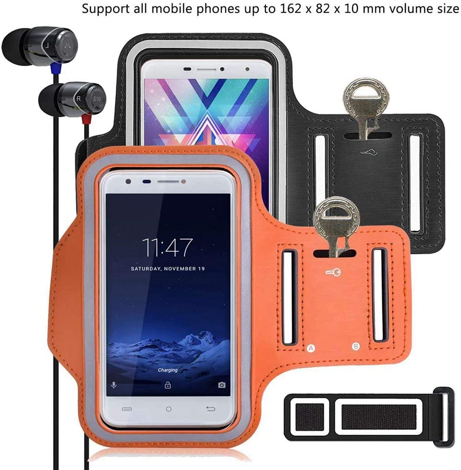 pinlu [2 Pack] Pulsera de Fitness a Prueba de Sudor para Xiaomi Mi4, Xiaomi Mi 4s, Xiaomi Mi5, Xiaomi Mi 5S, Xiaomi Mi6, Llave de la Puerta, Pulsera DE 5.5 Pulgadas -(Negro+Naranja)
