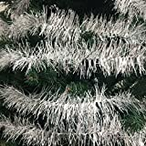 36 FT Christmas Garland Classic Christmas Decorations, Silver/White