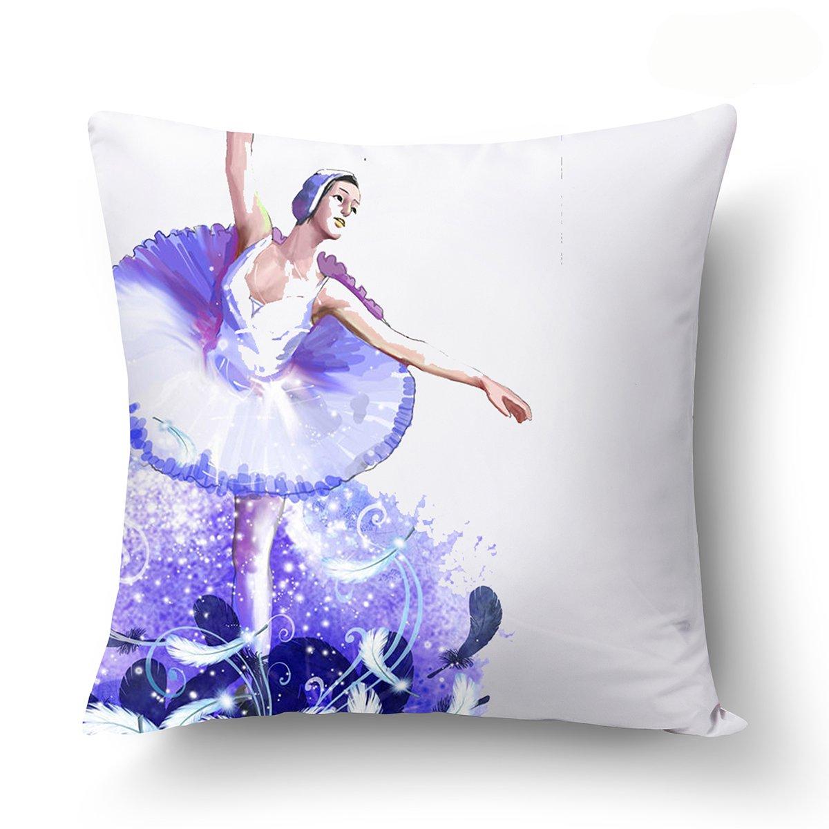 Smirk Sumer Fashion Dancer painting 45* 45cm federa personalità Ballet cuscino quadrato Home Decor cover, Poliestere, 1, 1