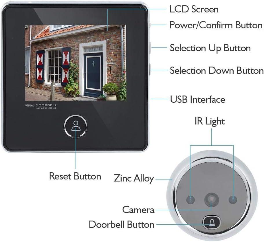 Tonysa Kabellose LCD Video T/ürsprechanlage,Kamera T/ürspion,3MP 120 /° Weitwinkelkamera HD Sicherheitst/ürspion f/ür die Sicherheit zu Hause mit 3 Zoll HD LCD Display//IR Nachtsicht