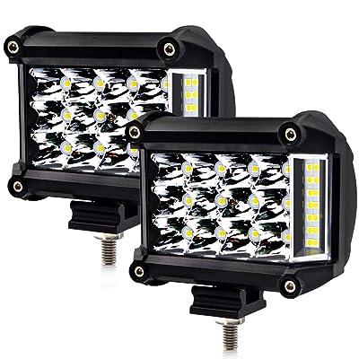 LncBoc LED Pod Light Bar 4 Inch 57W 5700Lm Waterproof Flood Beam Work Light Bar Off Road Light Driving Fog Light for Pickup Truck Jeep SUV ATV Boat,2Pcs-1 Year Warranty: Automotive
