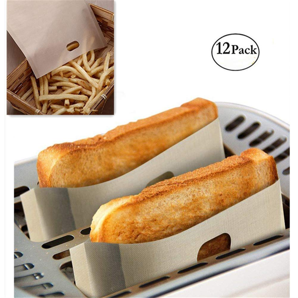 12 Pcs Toaster Bags Reusable for Grilled Cheese Sandwiches Teflon Toast Bag Non-Stick Microwave Bag