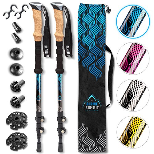 Alpine Summit Hiking/Trekking Poles with Anti-Shock Tips, Walking Sticks with Strong and Lightweight 7075 Aluminum and Cork Grips - Enjoy The Great Outdoors - Monster Ski Bag
