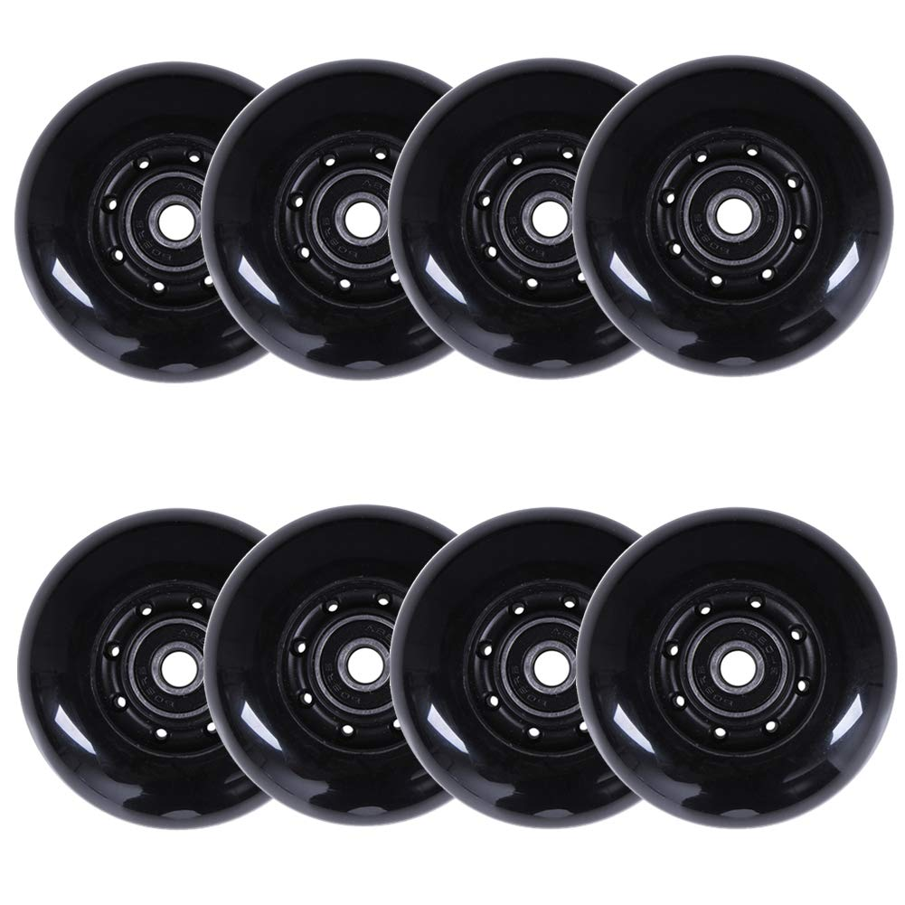 AOWISH 8-Pack Inline Skate Wheels 85A [Available in Sizes 64mm 70mm 72mm 76mm 80mm] Rollerblade Replacement Wheel with Bearings ABEC-9 (72mm/Black Hub Black Wheel)