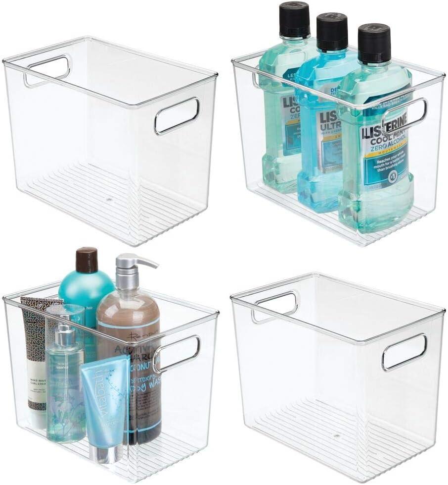 mDesign Juego de 4 cajas de plástico con asas – Cajas organizadoras de plástico para el lavabo, el armario o la estantería – Organizadores de baño para el jabón, el champú, etc. – transparente
