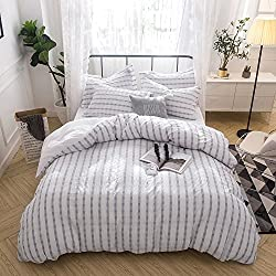 Merryfeel Seersucker 100% cotton yarn dyed Duvet Cover Set - Full/Queen Grey
