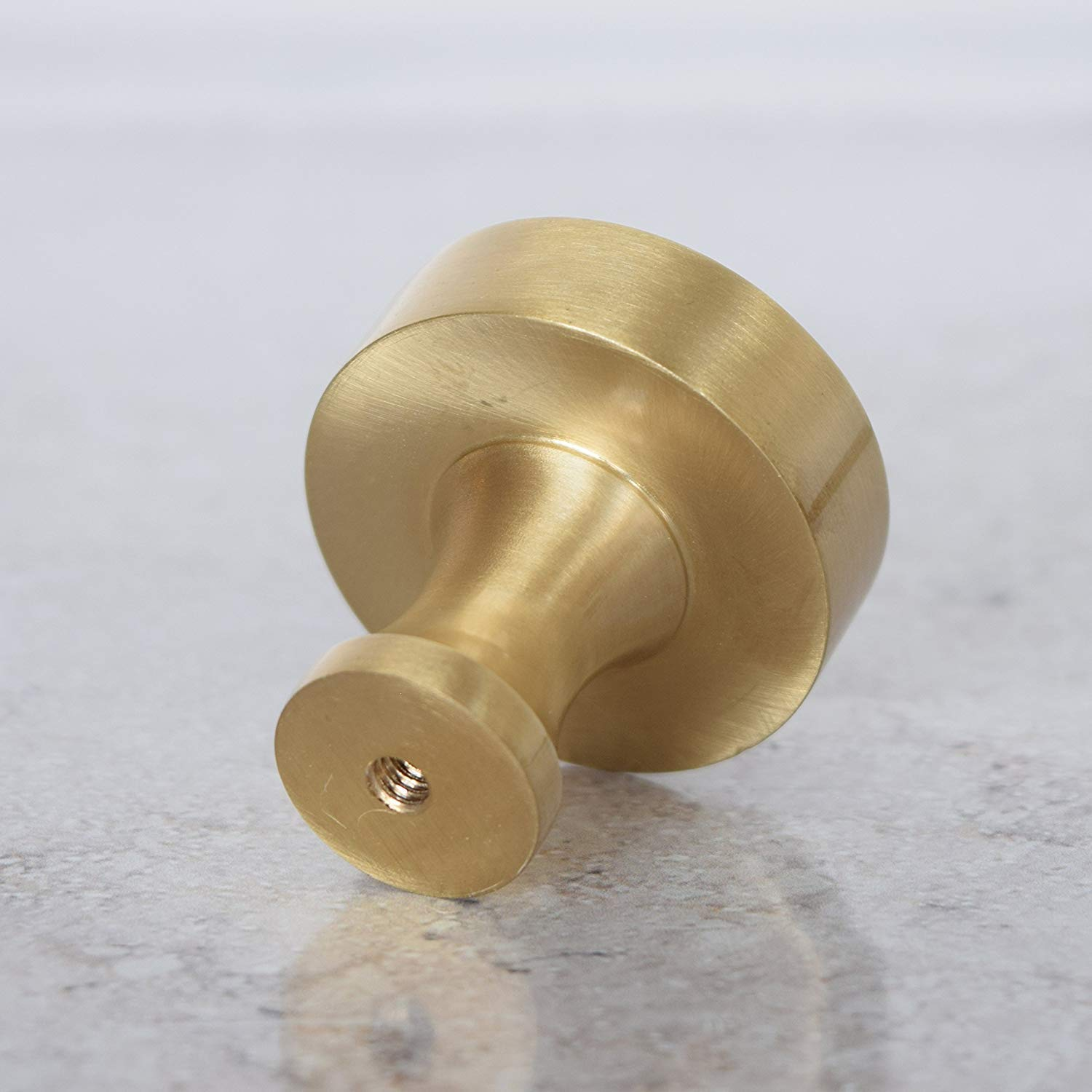 Pushka Home A Pair of Modern Contemporary Solid Brushed Brass Round Gold Cupboard Drawer Cabinet Door Knob Pull