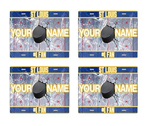 BRGiftShop Customize Your Own Hockey Team St. Louis Set of 4 Square Beverage - Set Louis Vanity