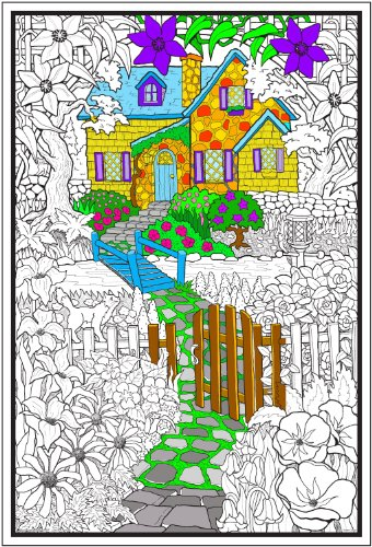 Stuff2Color Hidden Cottage - 22x32.5 Giant Line Art Coloring Poster (Great for Family Time, Adults, Kids, Classrooms, Care Facilities and Group Activities)