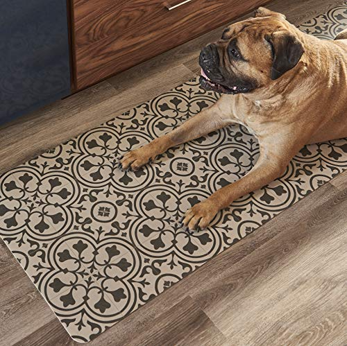 - Vinyl Floor Runner, Durable, Soft and Easy to Clean, Ideal for Kitchen Floor, Entryway or Hallway Floor Mat. Freestyle, Wrought Iron Deco Pattern (2 ft x 6 ft)