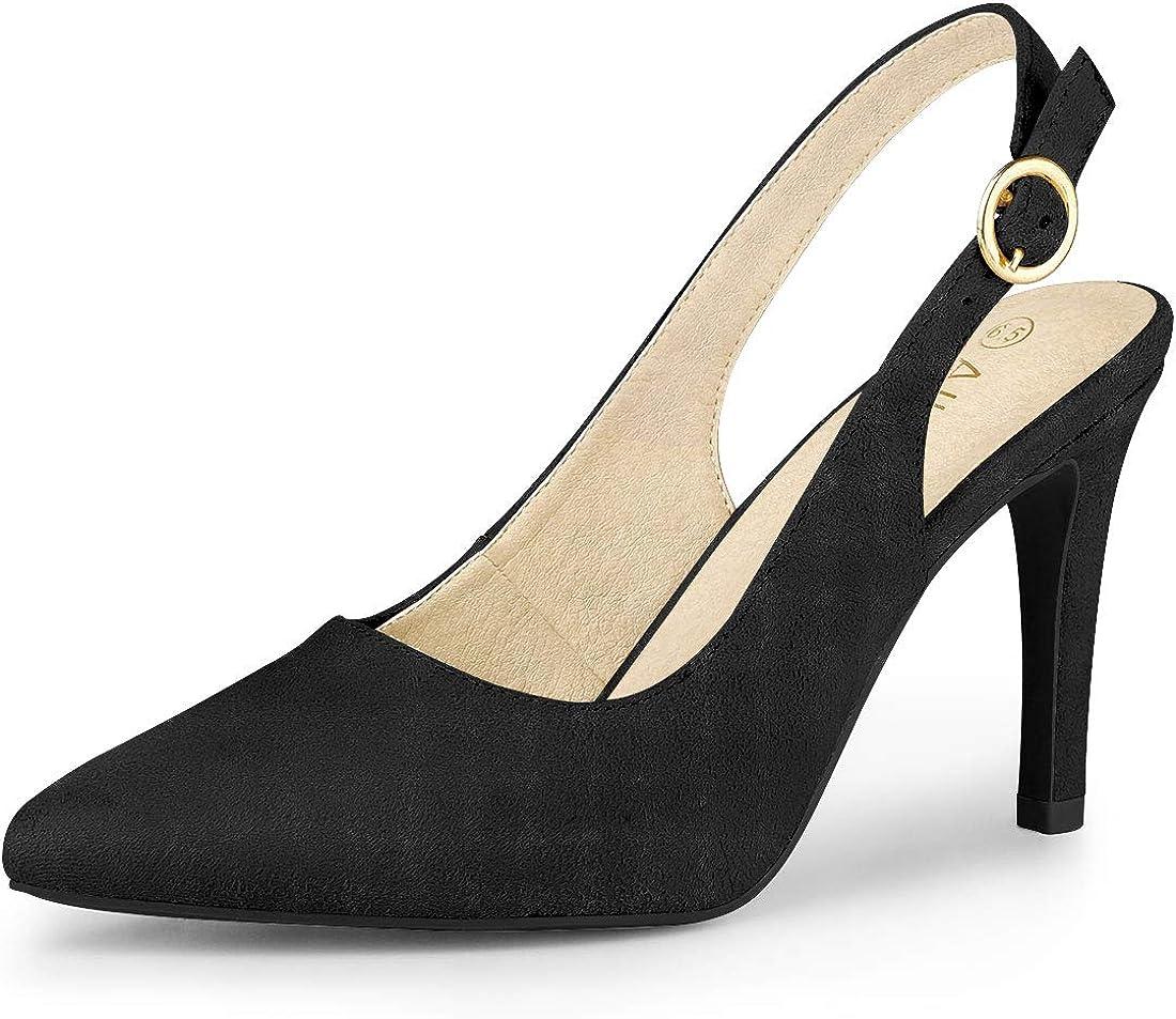 Allegra K Women's Pointed Toe Pumps Slingback Heels