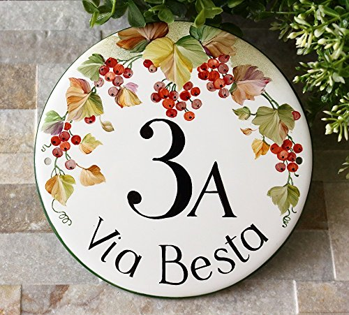 House numbers, ceramic address sign, house number plaque, Hand painted garden sign, round