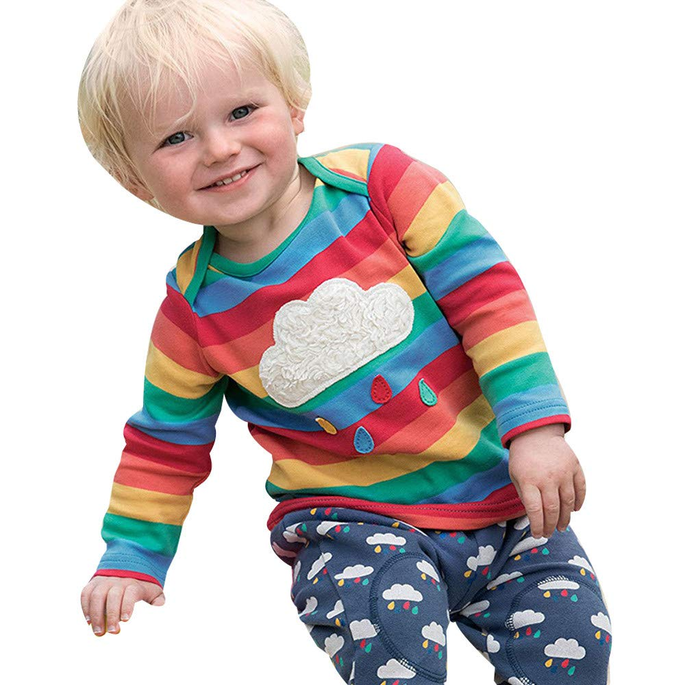 Kinlene Camicia Bambini del Ragazzo della Neonata Arcobaleno T Magliette A Righe Outfits Abbigliamento