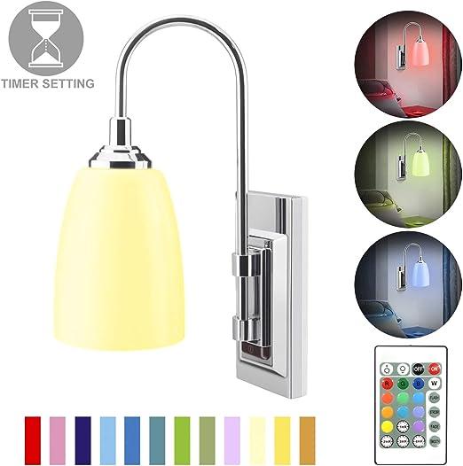 Amazon.com: HONWELL Lámpara de pared LED a pilas para ...