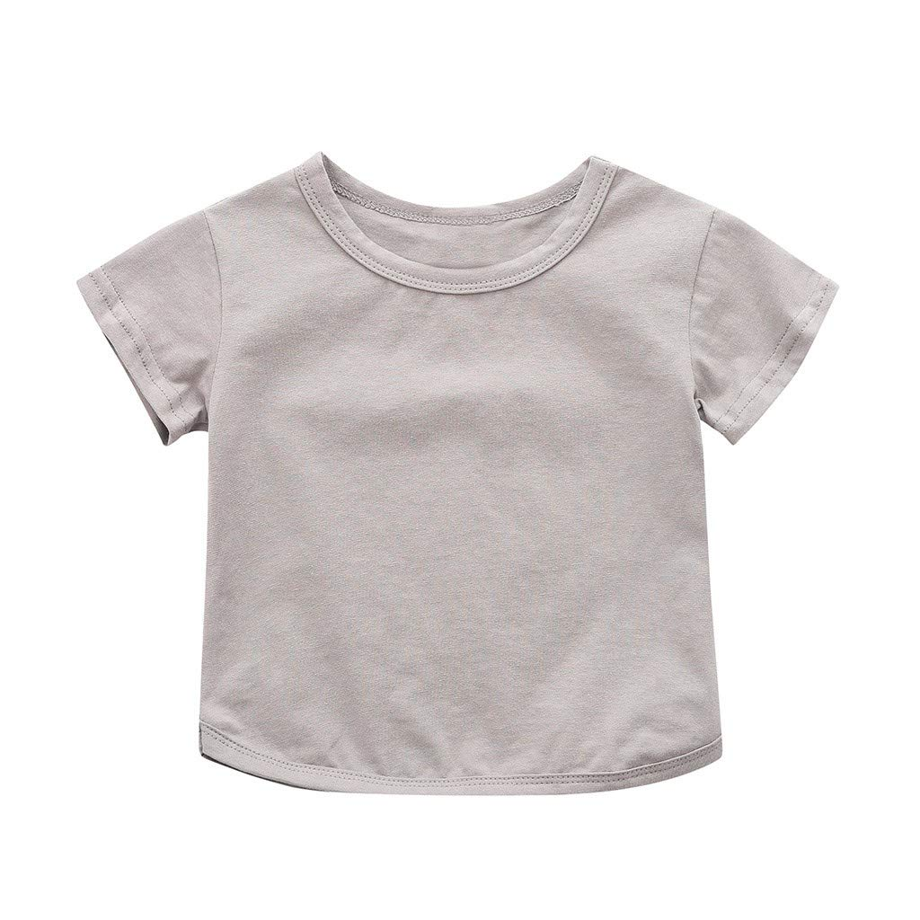 Toddler Baby Boys Girl T-Shirt Summer Solid Crewneck Short Sleeve Soft Casual Basic Shirt Tops (Gray, Recommended Age:2-3 Years)